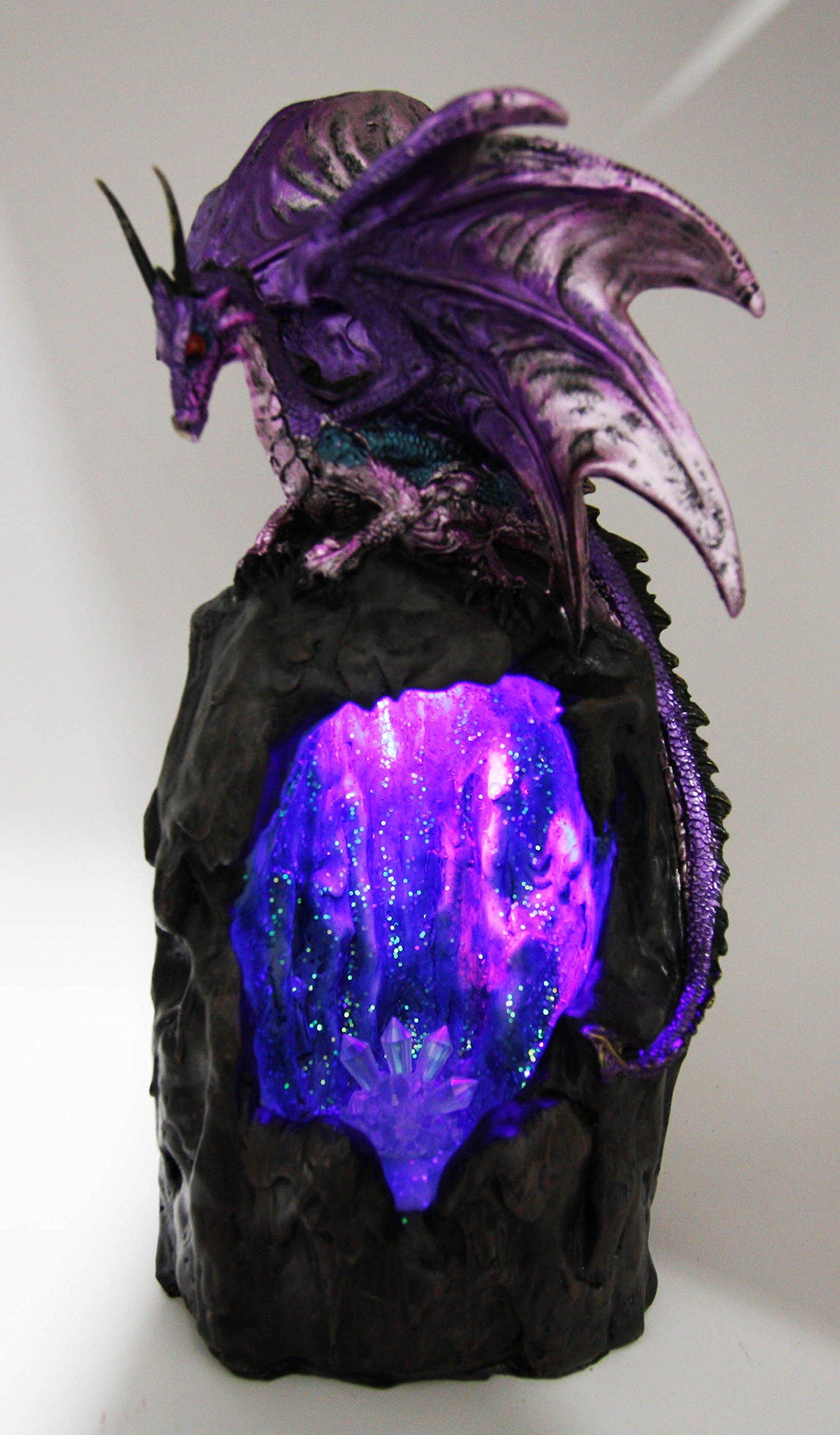 Ebros Purple Azurite Quartz Dragon Climbing On Gemstone Mountain Backflow Incense Burner Figurine Faux Stone by Ebros Gift (Image #8)