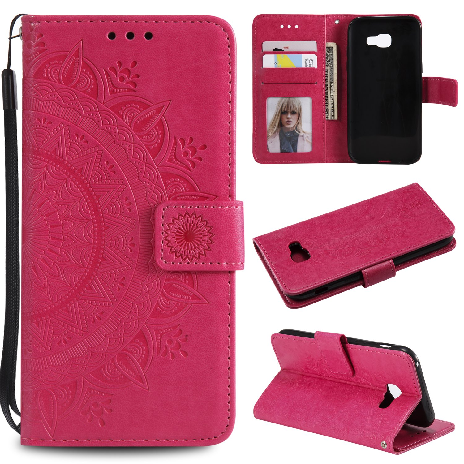 Galaxy A5 2017 Floral Wallet Case,Galaxy A5 2017 Strap Flip Case,Leecase Embossed Totem Flower Design Pu Leather Bookstyle Stand Flip Case for Samsung Galaxy A5 2017-Red