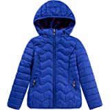 QLZ Girls Reversible Rainbow Heart Puffer Jacket with Hooded Coat