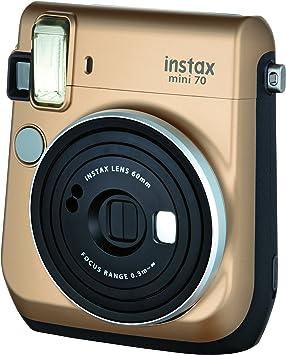 Fujifilm Instax Mini 70 - Cámara analógica instantánea (ISO 800, 0.37x, 60 mm, 1:12.7, Flash automático, Modo autorretrato, exposición automática, Temporizador, Modo Macro), Dorado Polvo de Estrellas: Amazon.es: Electrónica