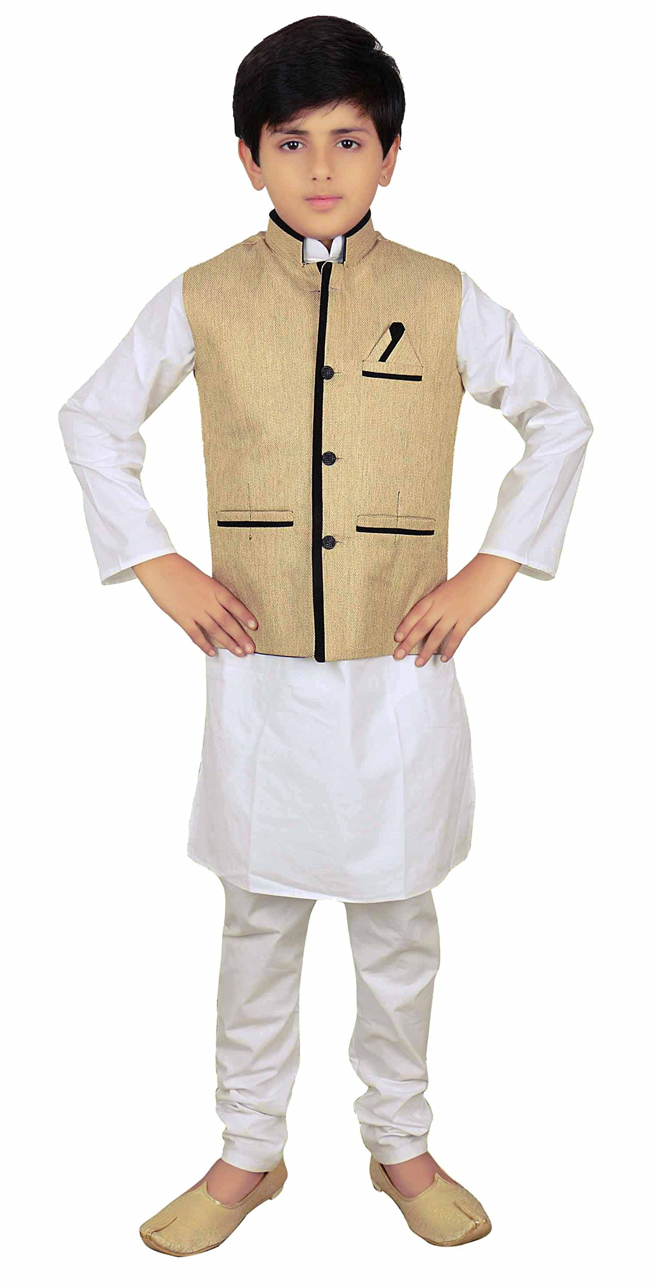 Boys Indian Light Gold Modi Nehru Gandhi Style kids Waistcoats for Bollywood party 010 (10 (10 yrs), Light Gold)