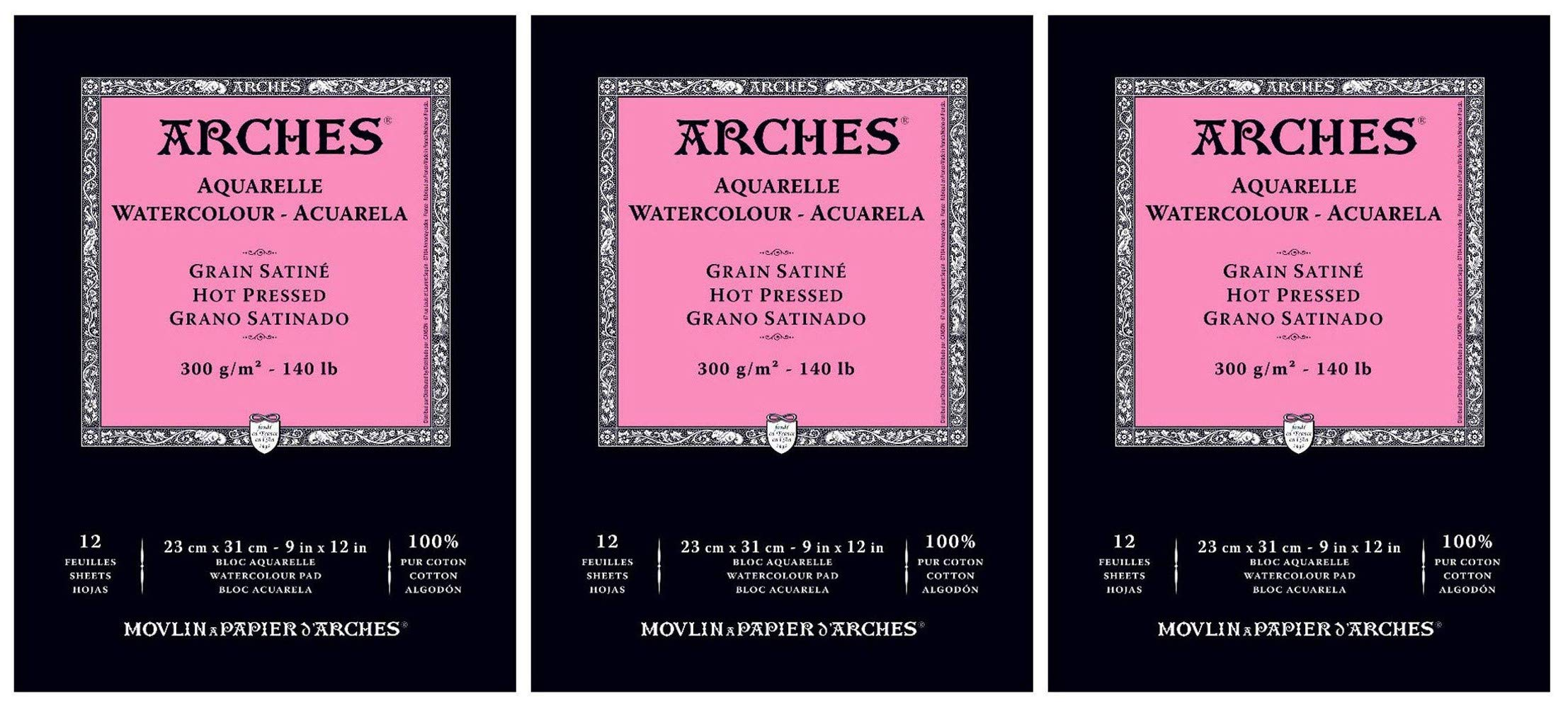 3-Pack - Arches Watercolor Pad, Hot Press 9'' x 12'' - 12 Sheets Each