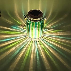 Solar Lantern Jar Lights Outdoor Table Light Mason Jars Green Stripe Hanging Tree Lights Glass Ball Sogrand Bright High 20 Lumens LED Tabletop Lanterns Decorative Lamp for Gift Patio Garden Party