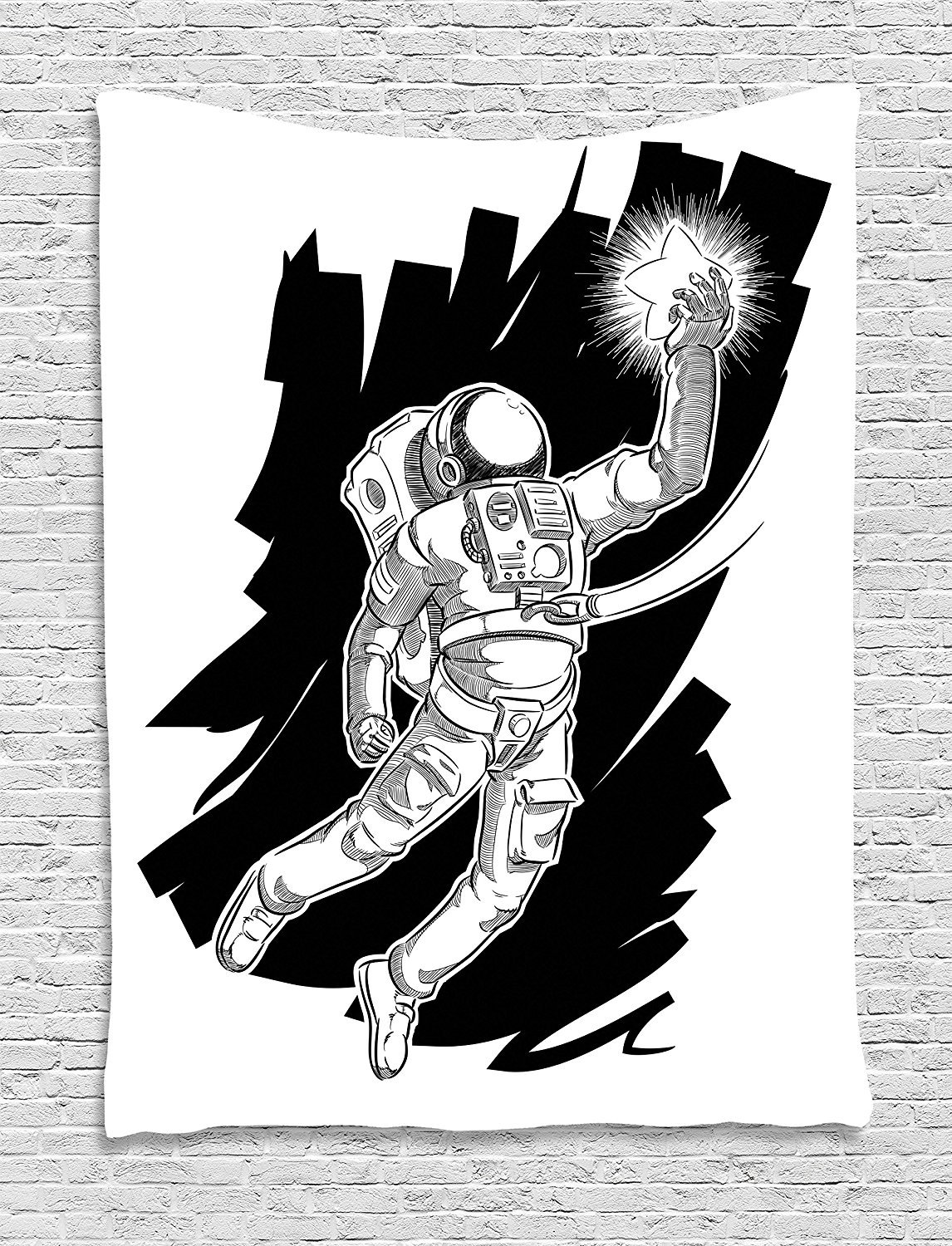 asddcdfdd Astronaut Tapestry, Sketch of Spaceman Grabbing a Star Achivement Discovery Zero Gravity Technology, Wall Hanging for Bedroom Living Room Dorm, 60 W X 80 L Inches, Black White
