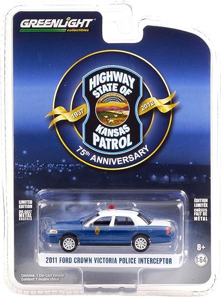 2011 Ford Crown Victoria Police Interceptor Blue & White Kansas Highway Patrol 75th Anniversary Unit (1937-2012) 1/64 Diecast Car Greenlight 28060 D