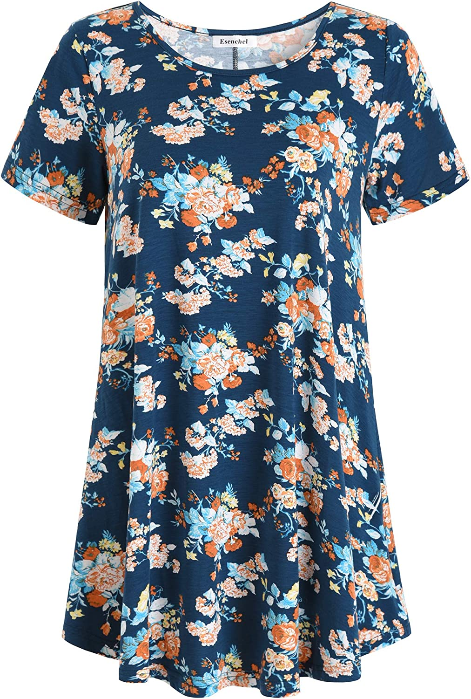 Esenchel Women's Short Sleeves Patterned Tunic Top