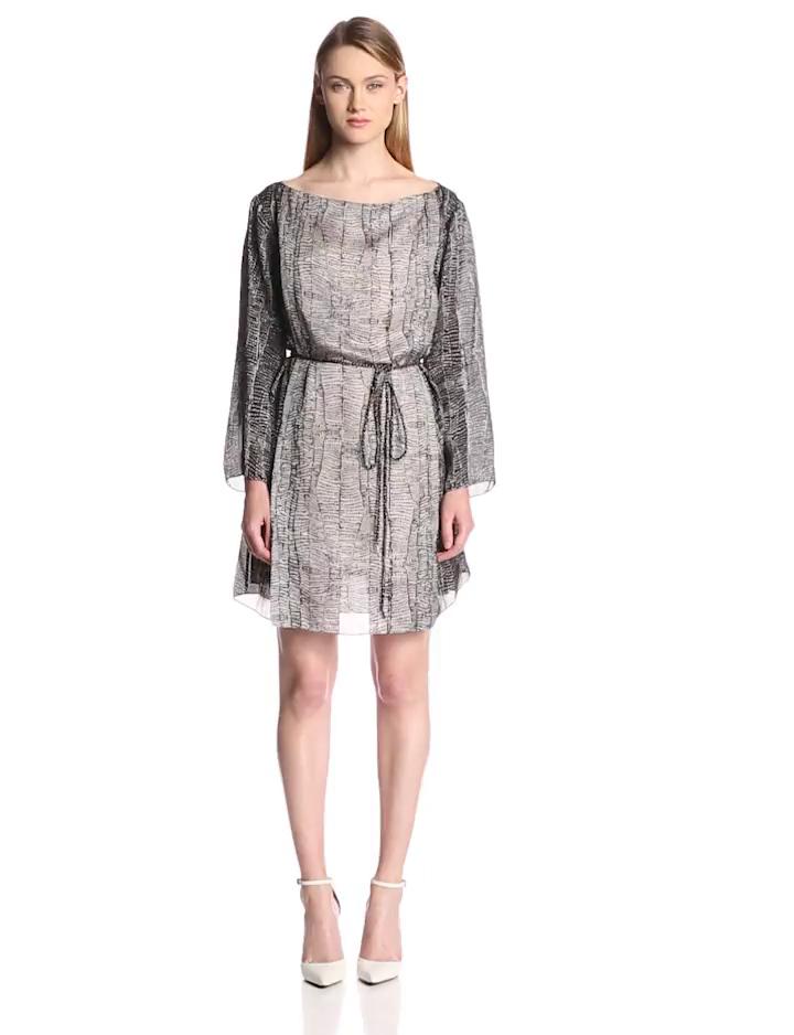 HALSTON HERITAGE Women's Printed Silk 3/4 Sleeve Caftan Dress, Eggshell Beaded, Medium