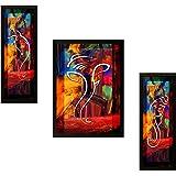 SAF 'Ganesh' Framed Painting (Synthetic, 13.5 inch x 22 inch, Modern Art Wood, Set of 3, SANFSAS7500)