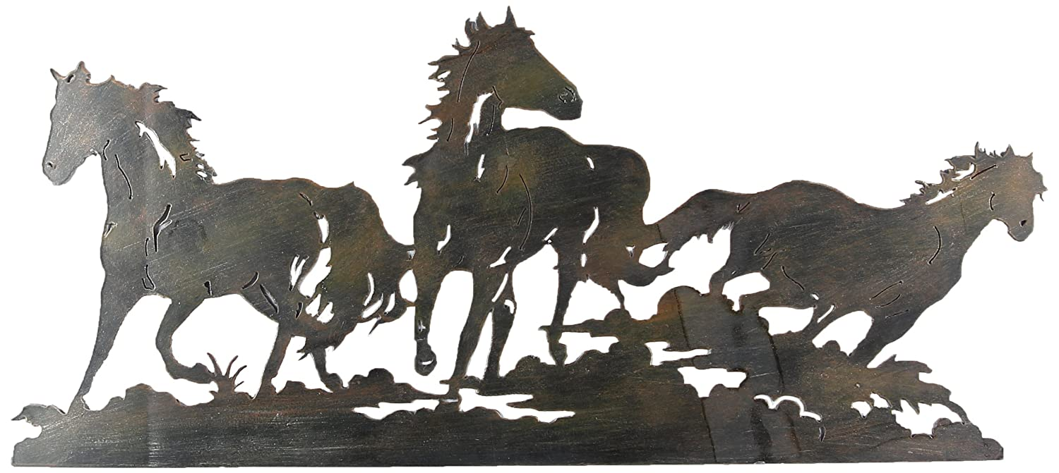 Amazon.com: Youngu0027s Laser Cut Triple Horse Metal Wall Art, 27.5 Inch: Home  U0026 Kitchen