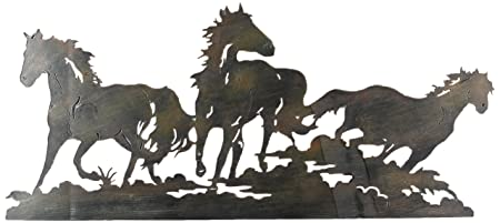 youngs laser cut triple horse metal wall art multi colour