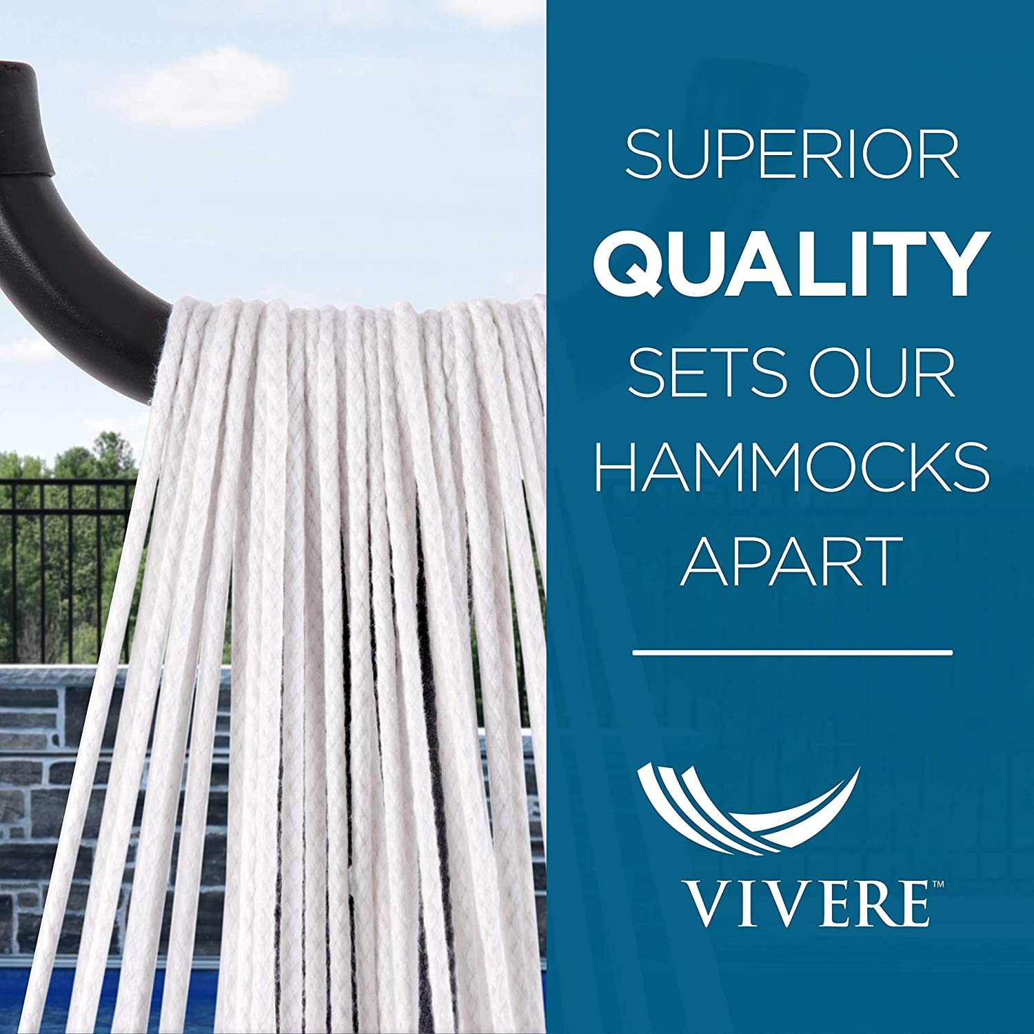 Vivere Double Polyester Hammock & 9' Steel Stand - Ciao