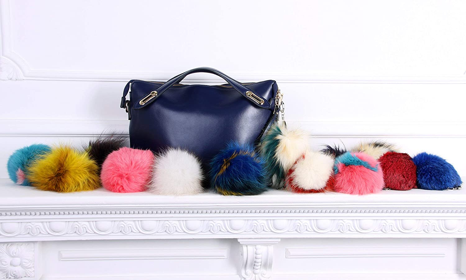 Amazon.com  Real fur Fluffy Ball Pom pom Keychain Handbag Key Ring for Car  Blue  Handmade 4fc9664e97fe9