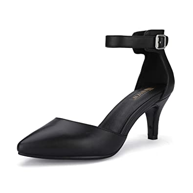 f997eab2b IDIFU Women's IN3 D'Orsay Pointed Toe Ankle Strap Mid Heel Pump (Black PU