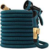 kegemor Garden Hose 100ft ,Flexible Lightweight Water Hose With 9 Way Nozzle,Durable 4-layer Latex Core,3/4inch Solid Brass,E
