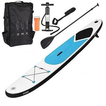 GEEZY Tabla de surf hinchable de 305 cm con acolchado ajustable, correa de tobillo,