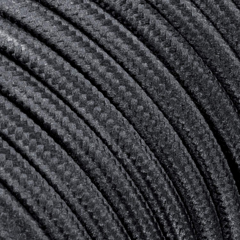 ledscom.de Cable Textil con Enchufe 2m Interruptor 2-adrig Negro
