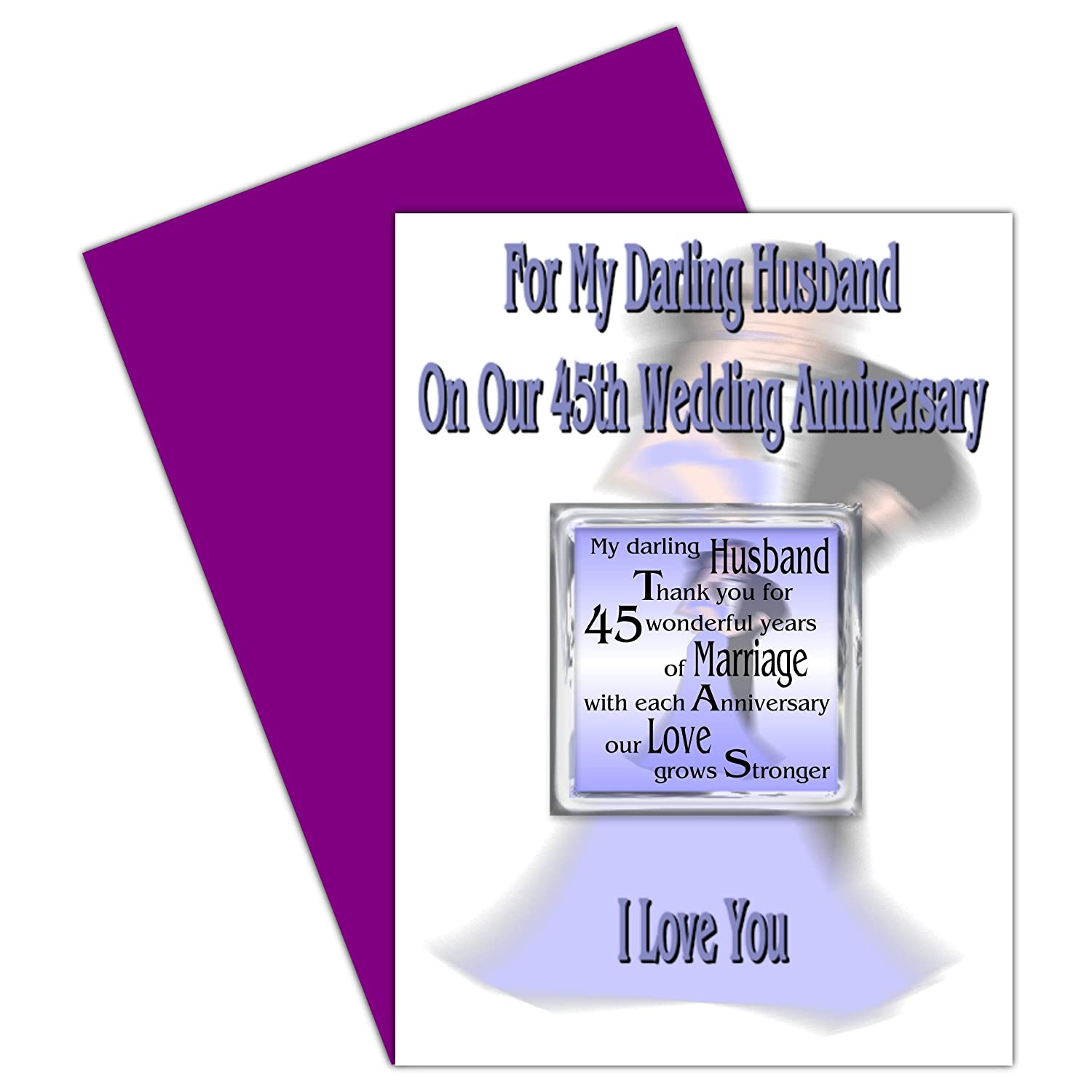 Husband 45th Wedding Anniversary Card With Removable Magnet Gift