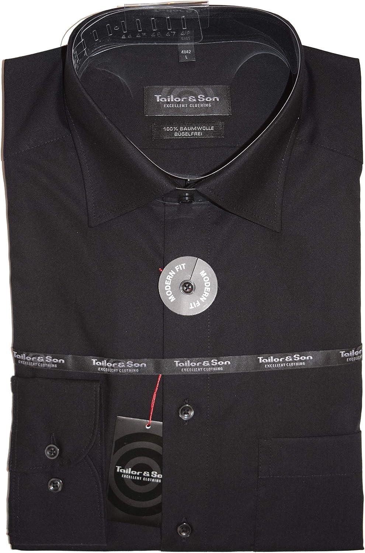 TAILOR & SON & SON - Camisa Formal - Negocios - Básico - Cuello Kent - para Hombre Negro Large: Amazon.es: Ropa y accesorios