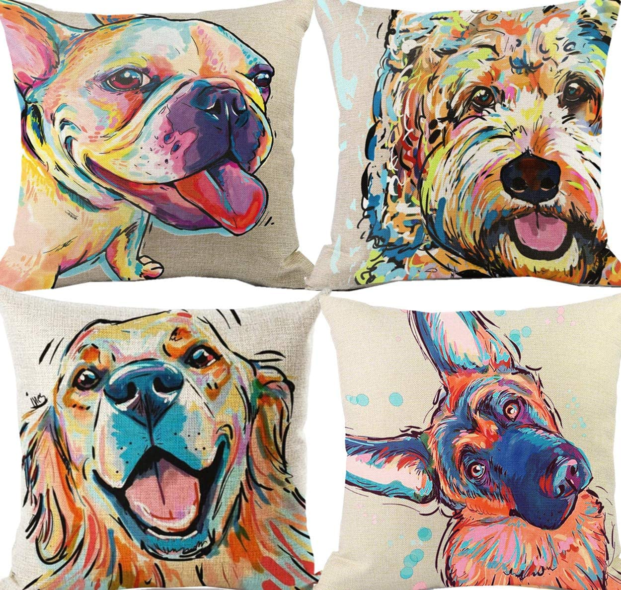 Greyhound Husky Cushion Cover Boston Terrier Pillow Cover Animal Ethnic Lounge