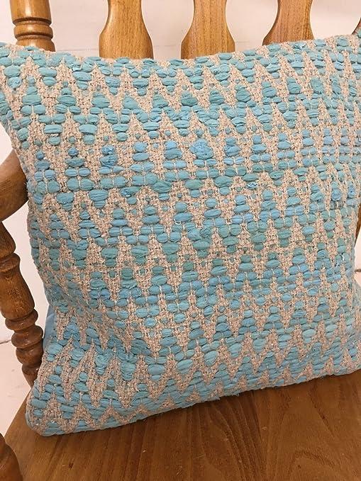 Turquesa Zig Zag - Cojín (algodón, 60 cm x 60 cm, cierre de ...