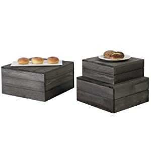 MyGift Rustic Gray Wood Crate Display Risers, Set of 3