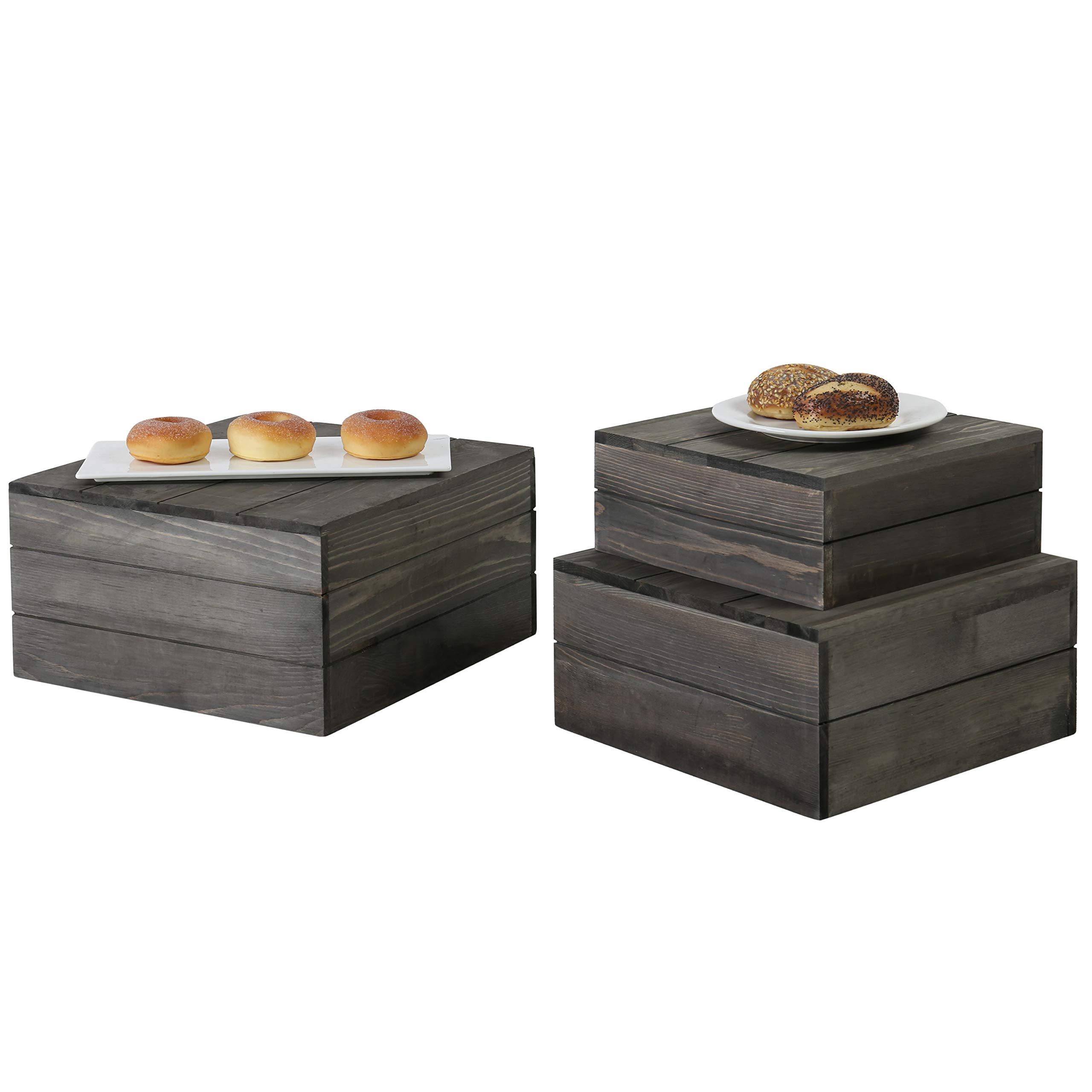 MyGift Rustic Gray Wood Crate Display Risers, Set of 3 by MyGift (Image #1)