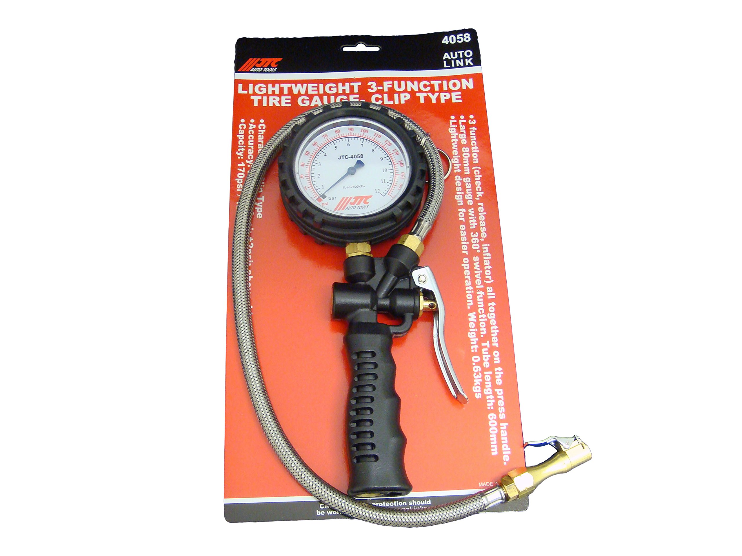 LIGHTWEIGHT 3-FUNCTION TIRE GAUGE-CLIP TYPE BY JTC 4058