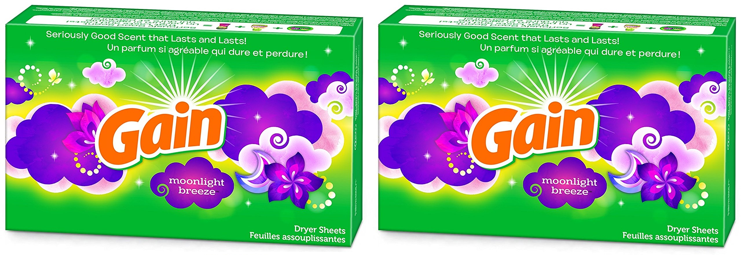 Gain Dryer Sheets - Moonlight Breeze - 60 Count Dryer Sheets Per Box - Pack of 2 Boxes