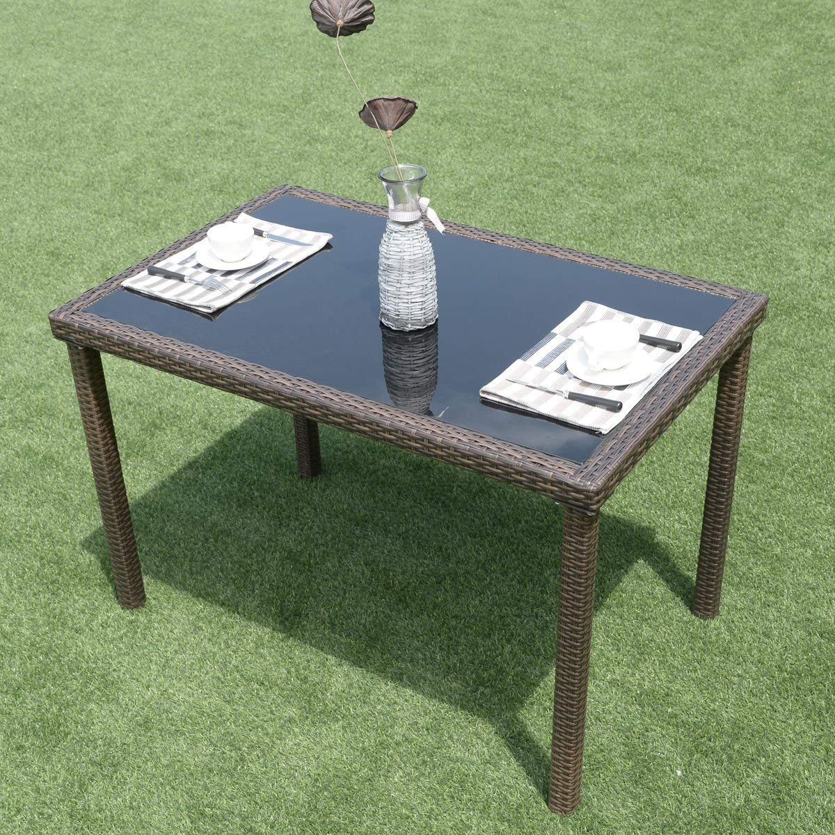 Wenst'sKufAN Outdoor Wicker Dining Table Tempered Glass Top and Metal Frame Side Table Patio Dining Table Coffee Tea Table Patio Balcony Pool Garden