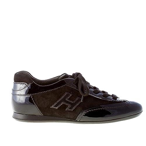 Hogan Donna Olympia Sneaker in Pelle Verniciata più camoscio Nero Color  Nero Size 36  Amazon.it  Scarpe e borse 3cc3a77fb47