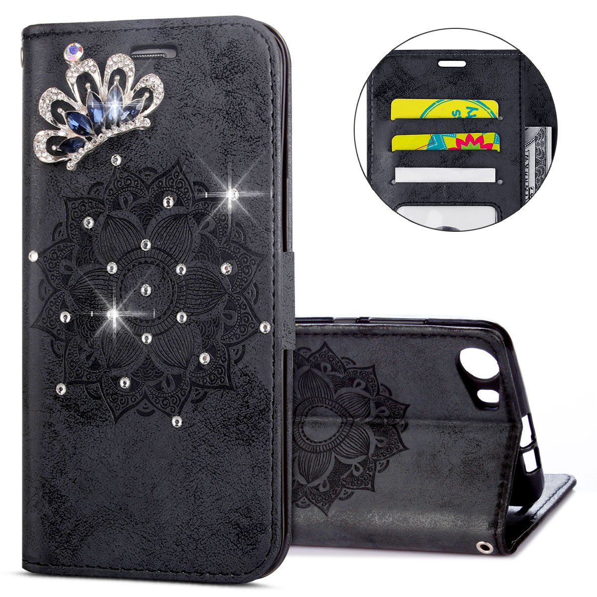 IKASEFU Wiko Lenny 2 Case,3D Clear Crown Rhinestone Diamond Bling Glitter Wallet with Card Holder Emboss Mandala Floral Pu Leather Magnetic Flip Case Protective Cover for Wiko Lenny 2,Black