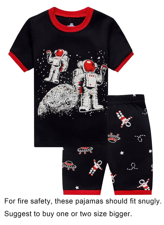 Family Feeling Little Big Boys Summer Snug-Fit Pajamas Short 100% Cotton Kids Pjs Sets