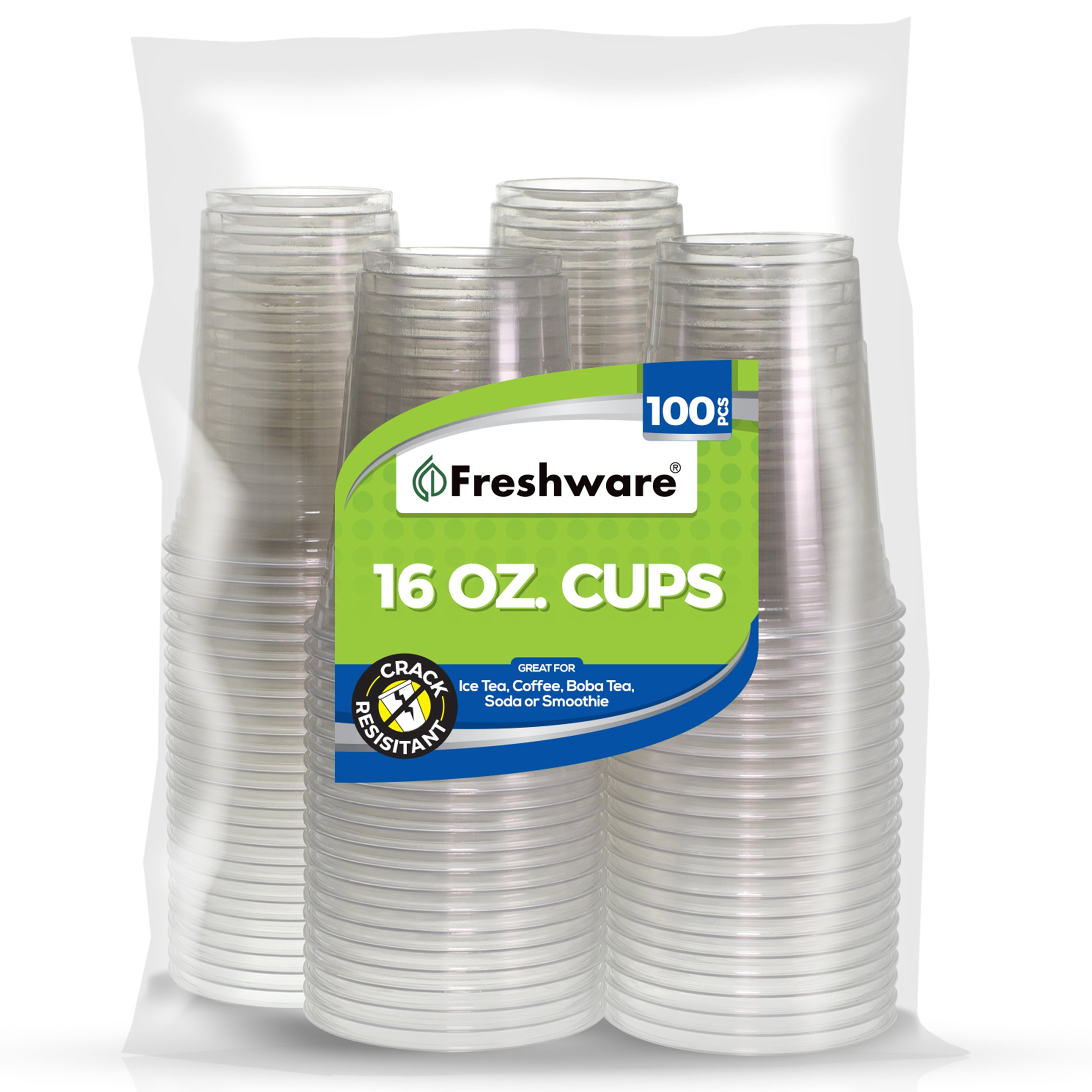 Freshware Clear, Heavy-Duty 16 oz Disposable Plastic Cups, BPA Free (100 Pieces)