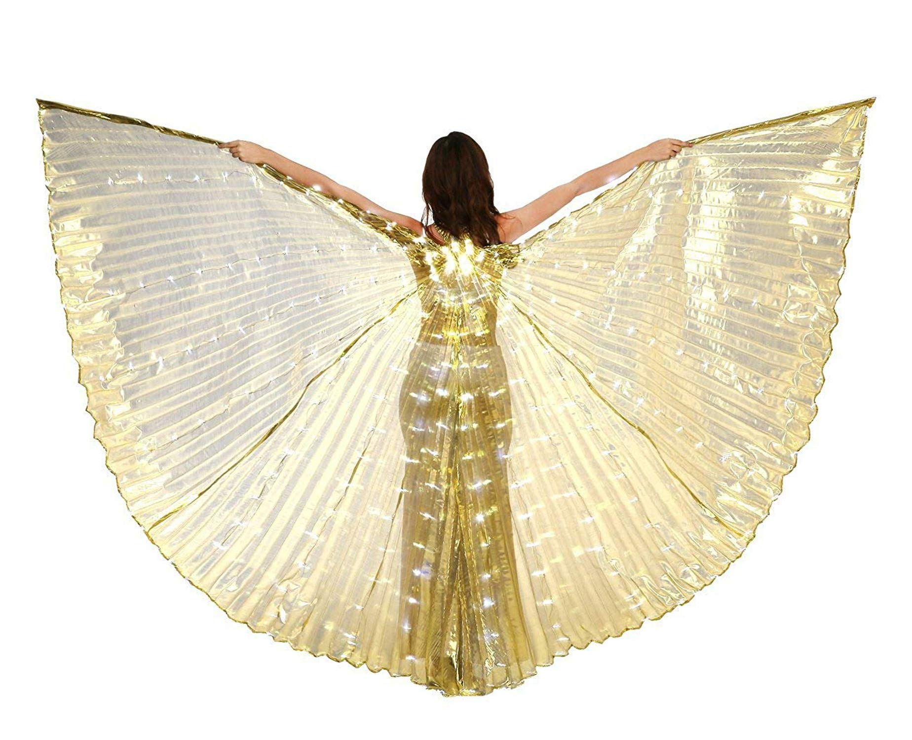 xiaoxiaoland εїз Belly Dance Wing with Rods-360 Degree Angel Wings with Portable Telescopic Sticks for Adults and Child,Gold by xiaoxiaoland