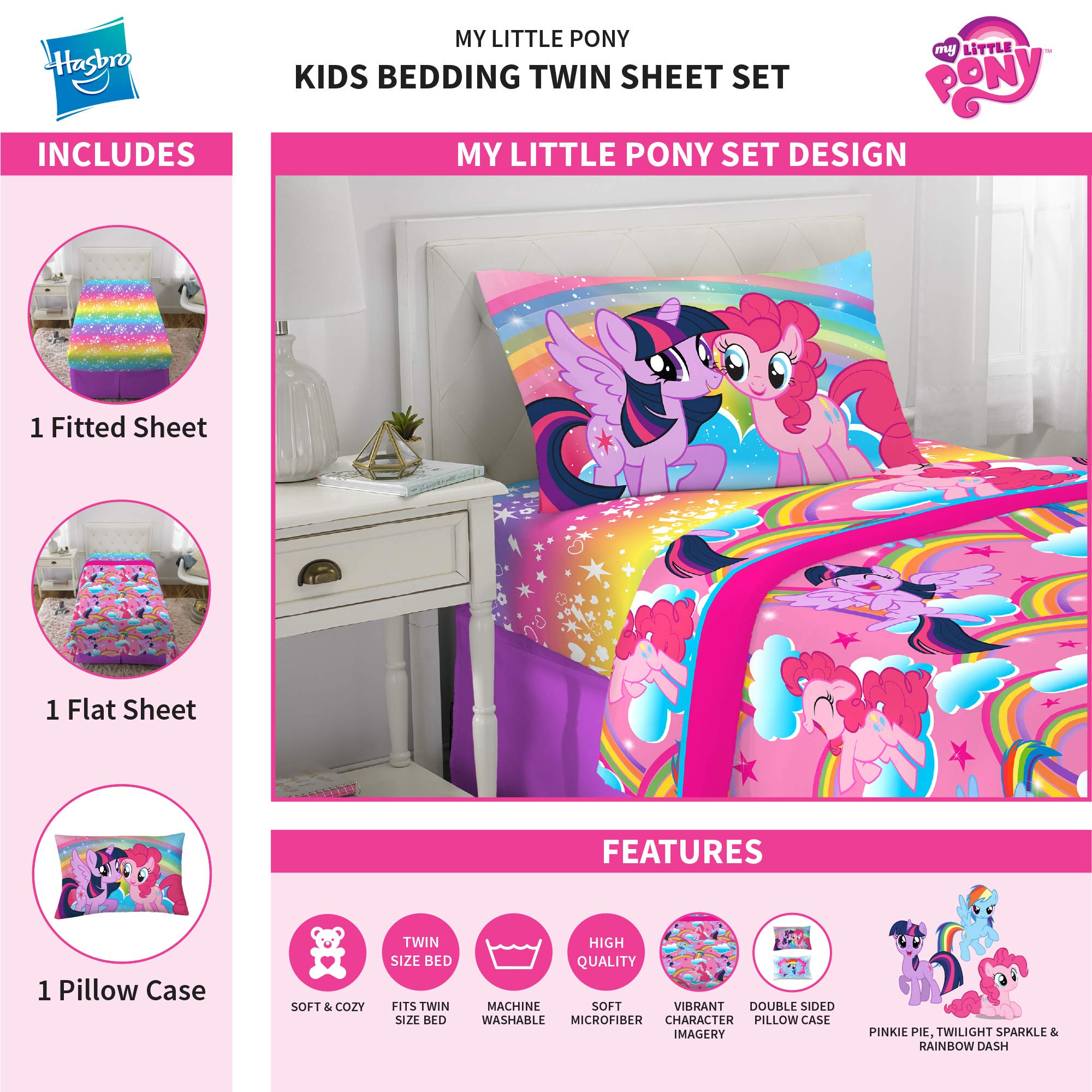 Franco Kids Bedding Super Soft Microfiber Sheet Set, 3 Piece Twin Size, Hasbro My Little Pony by Franco (Image #3)
