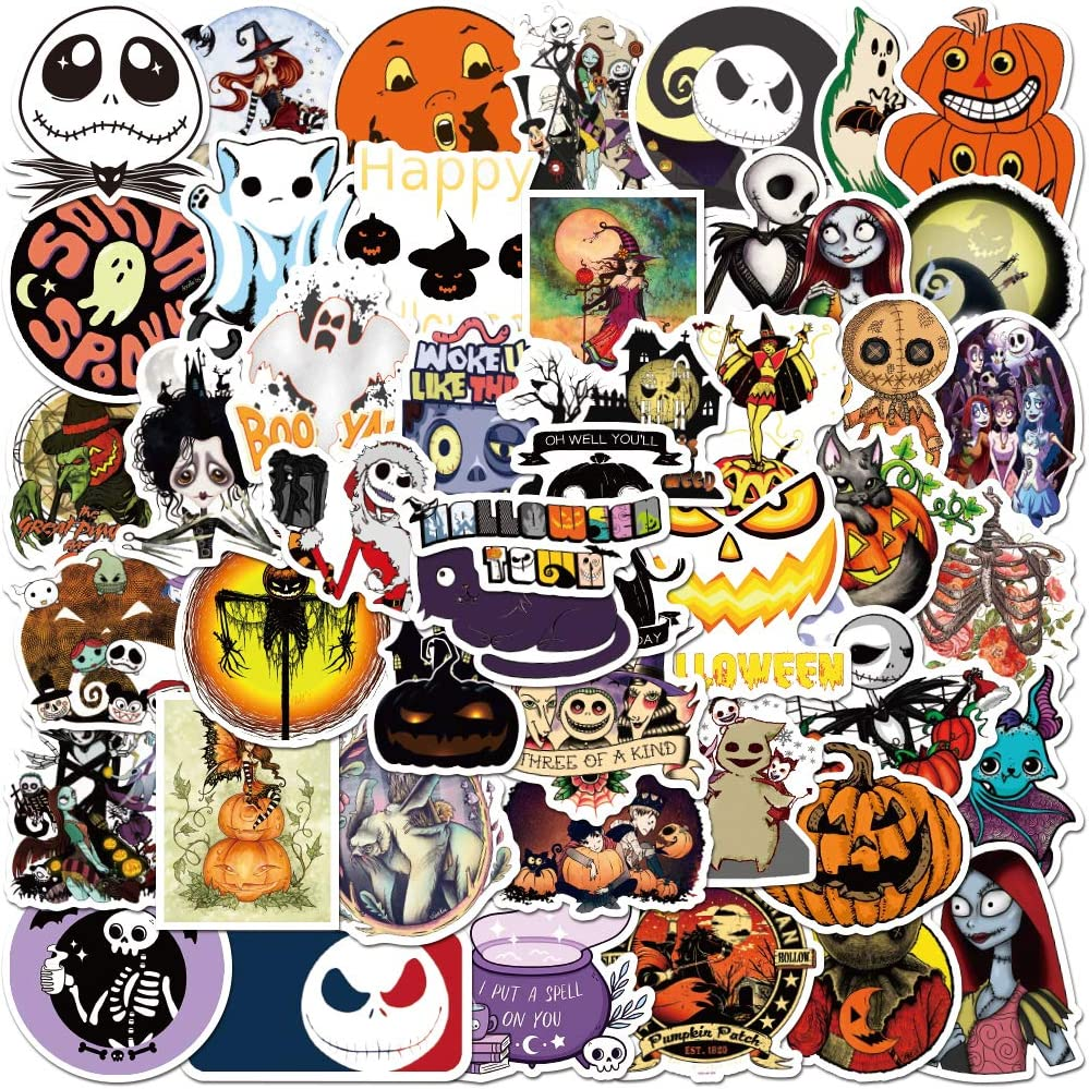 Halloween Theme Stickers Laptop Stickers- Jack-o'-Lantern, The Nightmare Before Christmas and Tim Burton's Sticker Waterproof Candy Bags, Laptop Luggage Decal Graffiti Patches Decal 100 PCS