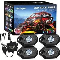Nilight RGB LED Rock Lights Kit, 4 pods Underglow Multicolor Neon Light Pod with Bluetooth App Control Flashing Music…