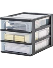 Iris Ohyama Europe A-4 chest with 3 (without wheels), black, tower unit six, Drawer organiser, Plastic office drawers-OCH-2030, 35.5x26x25.5