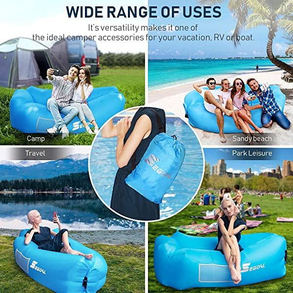 SEGOAL Inflatable Lounger Air Sofa Couch with Pillow, Portable Waterproof Anti-Air Leaking for Indoor/Outdoor, Camping, Traveling, Ideal Inflatable Couch for Picnic Backyard Lakeside