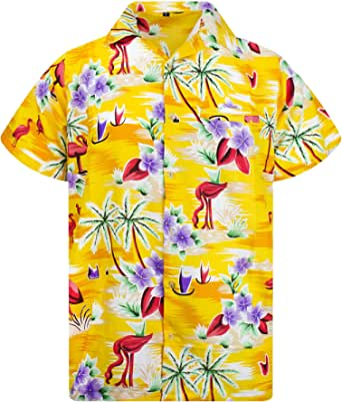 Camisa Hawaiana enrrollada Hombres XS-6XL Manga Corta Bolsillo Frontal Hawaiano-Imprimir Flamingo Palms
