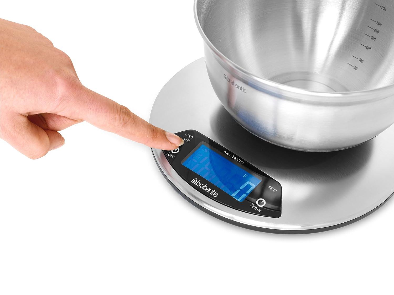 Brabantia Digital Kitchen Scales with Built in Timer - Matt Steel ...