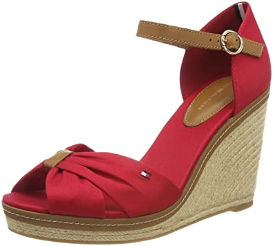 bb865fef4 Tommy Hilfiger Women s Iconic Elena Sandal Platform (Tango Red 611) 3.5 UK