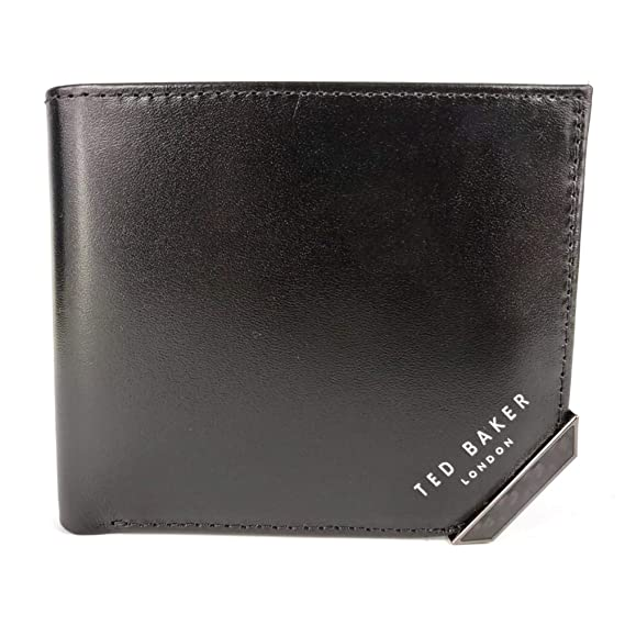 b606057b981b7 Ted Baker Boozip Black Leather Bi-Fold Wallet With Coin Pocket One Size   Amazon.co.uk  Clothing