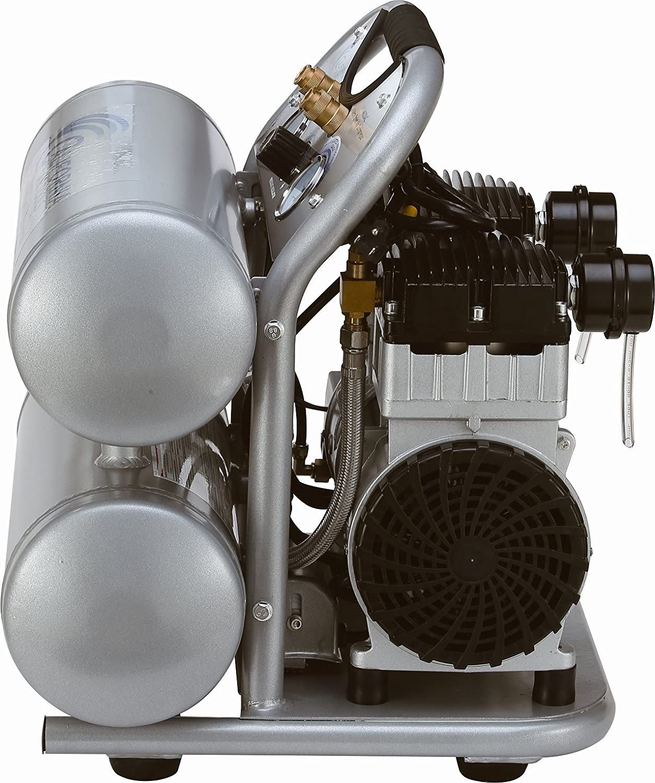 California Air Tools CAT-4620AC Ultra silencioso y libre de aceite 2,0 hp 4,0 galones de aluminio de doble tanque eléctrico portátil aire compresor, ...
