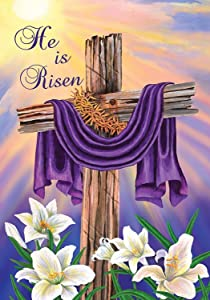 "Briarwood Lane Easter Cross Garden Flag Religious He is Risen 12.5"" x 18"""