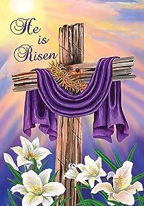 """Briarwood Lane Easter Cross Garden Flag Religious He is Risen 12.5"""" x 18"""""""