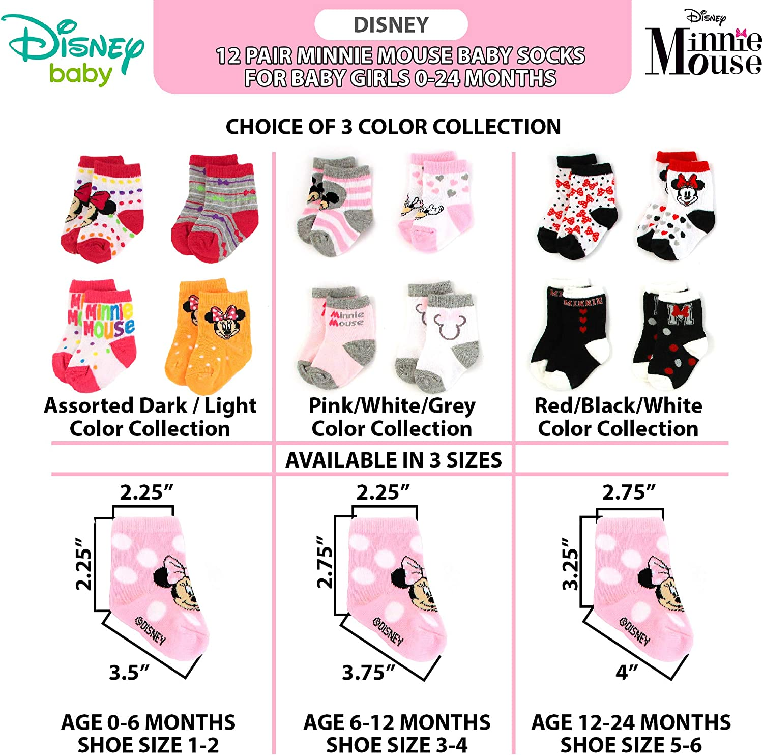 Newborn and Infants Disney Baby Girls Minnie Mouse Charachter Design Socks 12 Pack