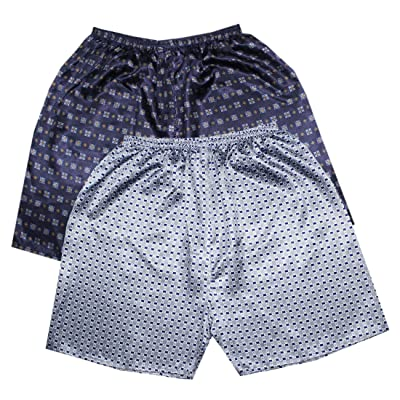 (Pack of 2) Mens Sleepwear - Silk Couture Boxer Shorts / Pajama Shorts