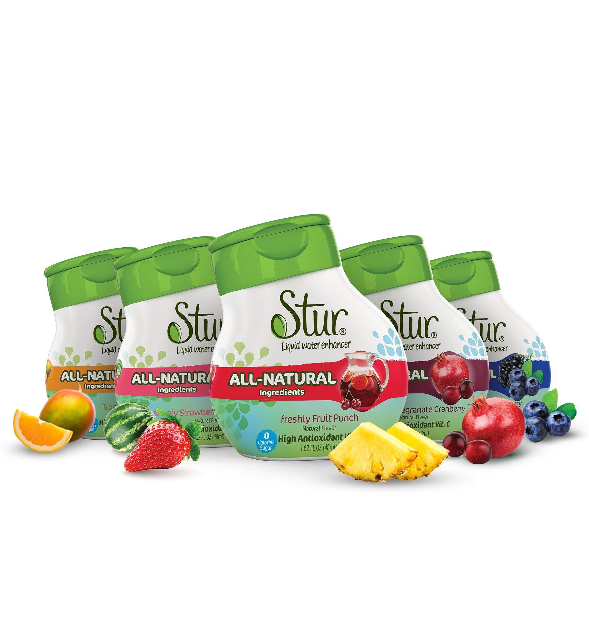 Stur Drinks - Variety Pack, Natural Water Enhancer, Liquid Drink Mix, Sugar Free, Zero Calorie, Vitamin C, Stevia, Make Your Own Fruit Infused Flavored Waters, Makes 100 Drinks