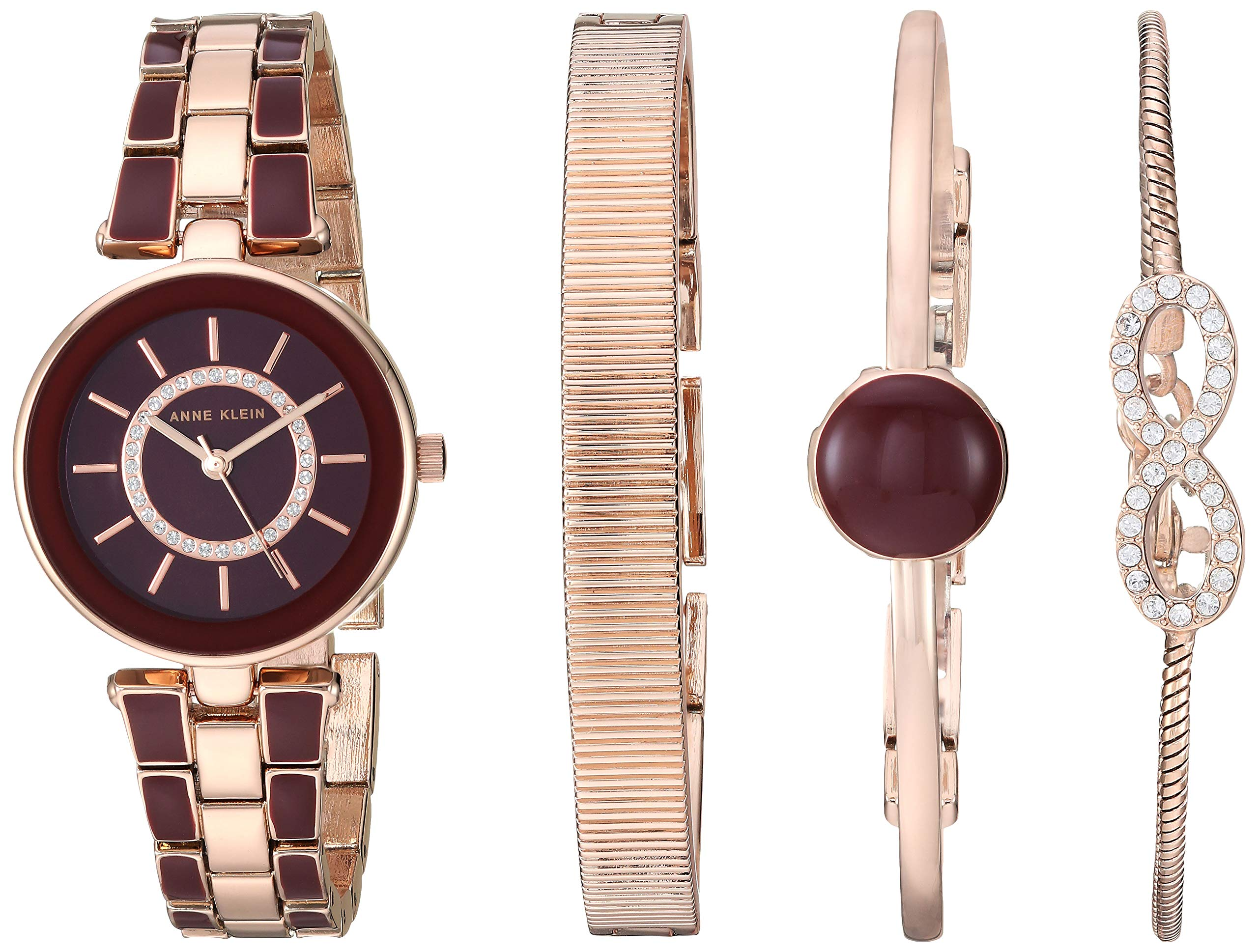 Anne Klein Women's AK/3286BYST Swarovski Crystal Accented Rose Gold-Tone and Burgundy Watch and Bracelet Set